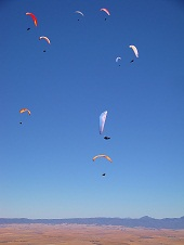 Paragliding Porterville - Pilots thermalling in front of take off.